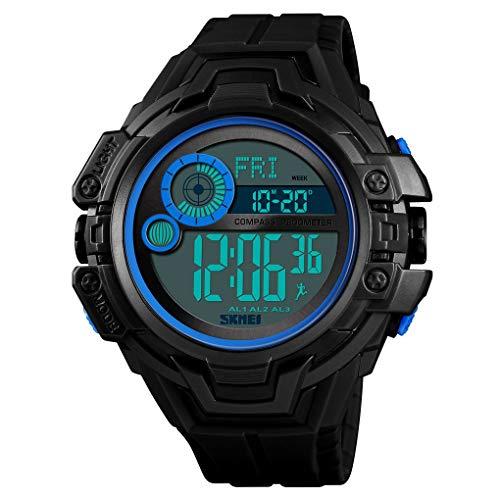 MOLINGXUAN Kompass Sportuhr Outdoor LED-wasserdichte leuchtende Digital-Metronom-Uhr-Multifunktionsstudenten Persönlichkeit Mode elektronische Uhr,D
