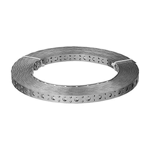 Lochband | 20 x 0,5 mm | Montageband 10 Meter Länge | Stahl verzinkt Montage-Lochband