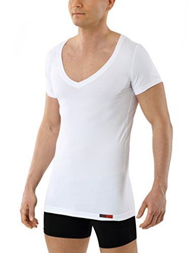 ALBERT KREUZ Camiseta Interior Blanca para Hombre de Tejido técnico algodón-Coolmax® – antisudor, Piel Seca – de Manga Corta y con Cuello de Pico Profundo M