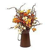 Cozyhoma, fiori artificiali autunnali con secchio, design europeo con foglie di seta, rami di fiori falsi, bouquet per feste di nozze, feste di ringraziamento, autunno decorazione