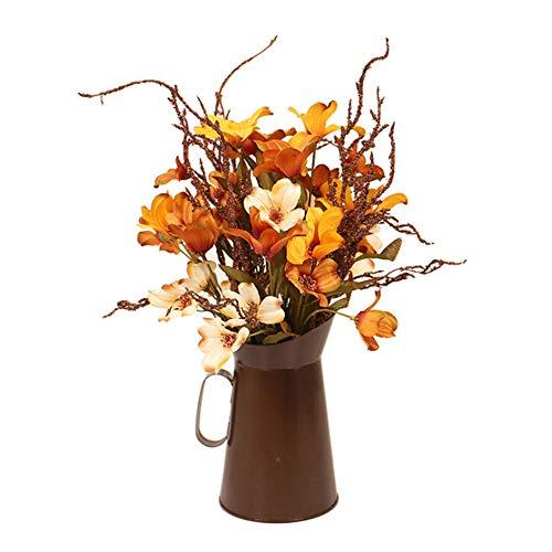 Cozyhoma Künstliche Herbstblumen mit Eimer, europäischer Stil, Seidenblätter, Zweige, künstliche Herbstblumen, Blumensträuße für Hochzeit, Party, Festival, Erntedankfest, Herbstdekoration