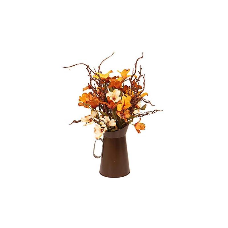 silk flower arrangements develoo artificial daisies bouquet in wooden house pot, autumn floral arrangements mixed plant flower bonsai for for home table decor fall harvest ornament photo prop