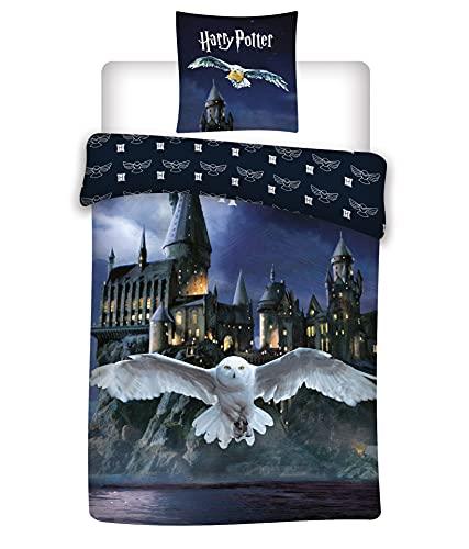 Parure de lit Harry Potter Hogwarts 100% Microfibre - Housse de Couette 140x200 cm + Taie d'oreiller 63x63 cm
