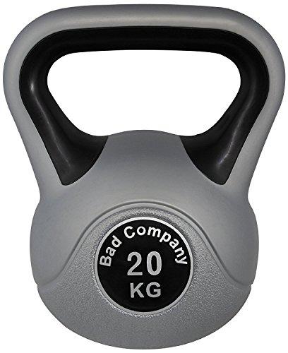 Bad Company Kettlebell als Set oder einzeln I Kunststoff Kugelhantel und Ablage-Rack I Schwunghantel Workout - Color Line I 20 kg