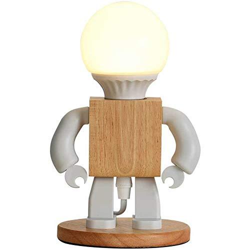 Cakunmik Lámpara de Mesa Robot lámpara de Noche de Madera Creativa E27 Fuente de luz: iluminación Decorativa para niños, Oficina, Sala de Estar,A