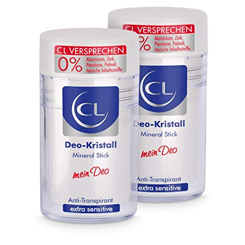 CL Desodorante piedra de alumbre natural antitranspirante 2x 60 g - Ofrece una protección de 24 horas - Especial para pieles sensibles - Cristal de aluminio para hombres y mujeres