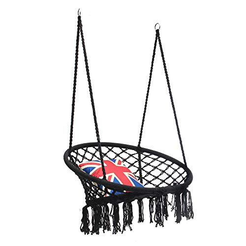 BESTSOON Camping Portable Hammock Outdoor Hanging Hammock Woven Rope Chair Seat Indoor Bedroom Children Round Swing Bed Suitable For Outdoor Travel And Camping