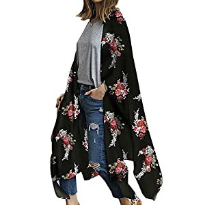 Kimono largo floral o estampado, de gasa, para playa, diseño boho, parte delantera abierta, holgada, blusa verano para… | DeHippies.com