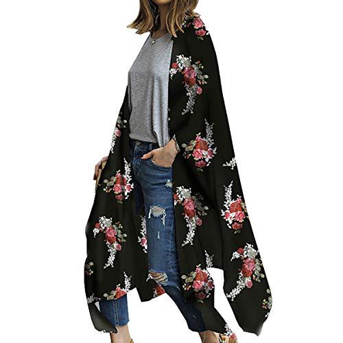 Kimono largo floral o estampado, de gasa, para playa, diseño boho, parte delantera abierta, holgada, blusa verano para mujer Negro Negro ( XL