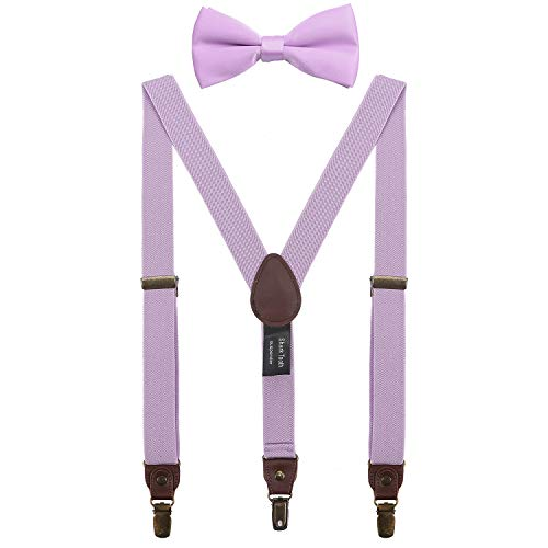 Shark Tooth Suspenders for Teens with Bow Tie Set Adjustable Lavender 40'