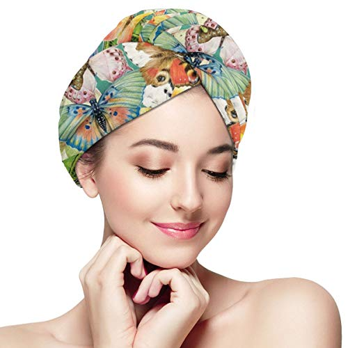 Colorful Butterflies Word Painting Dry Hair Cap Microfibre Hair Towel Wraps Ultra Absorbent Quick Dry Twist Turban with Button for Drying Curly Long Thick Hair 28 inch X 11 inch