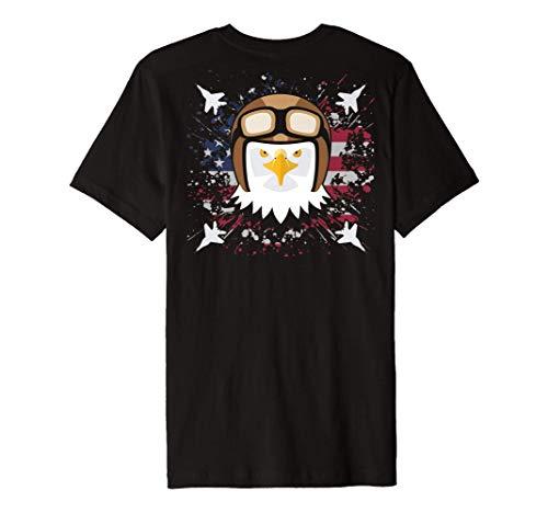 Bald Eagle Jet Fighter Pilot Clipart Graphic US Flag On Back Premium T-Shirt