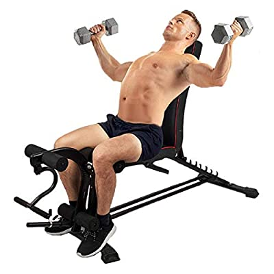 winwintom Adjustable Weight Bench with Barbell ...