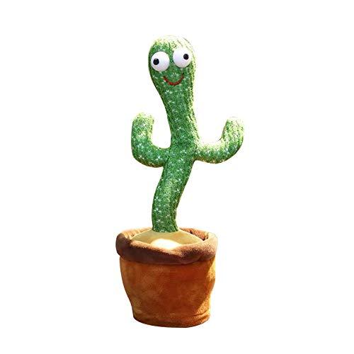 Dreafly Juguete de Cactus Bailando con Cara Sonriente y luz 120 Canciones, Broma, Canto, Felpa, Juguetes interesantes para niños, educación temprana para niños, 28 cm, Adorno ondulante, Regalo
