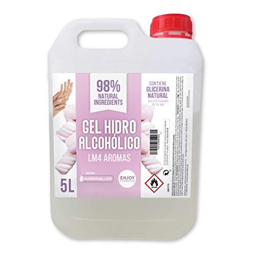 Gel hidroalcohólico de 5000 ml AROMA MARSHMALLOW 70% alcohol y con glicerina NATURAL para el cuidado de la piel. 98% ingredientes Naturales.