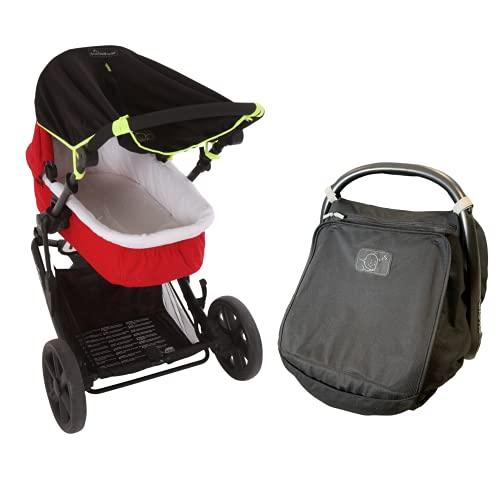 Newborn Baby Sunshade Bundle - SnoozeShade Original (0-6m) pram Sunshade (Green Trim) and SnoozeShade Infant Car Seat Sunshade