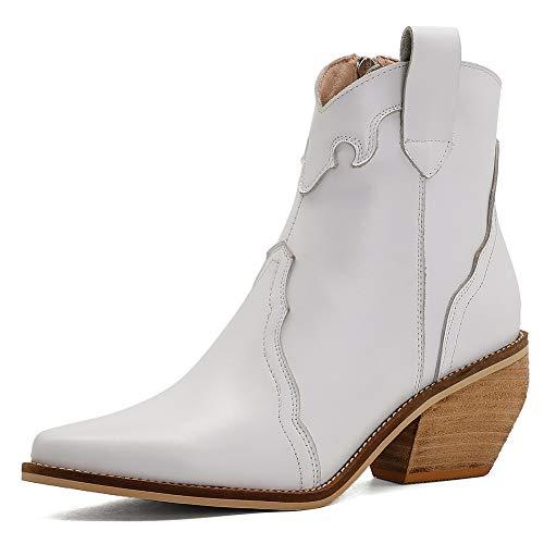 Slenderer Blockabsatz Leder Western Stiefel Kurzschaft High Damen Pull On Cowboy Stiefel Wide Calf Pointed Toe Ridding Stiefel White Gr 35