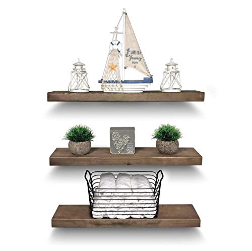 Rustic Farmhouse 3 Tier Floating Wood Shelf - Real Hardwood Floating Wall Shelves (Set of 3), Hardware and Fasteners Included (White Oak, 24')
