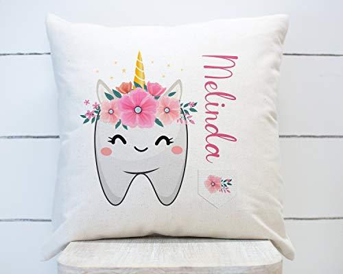 MUSTYDF Zahnfee-Kissen, 2 Zähne, bedrucktes Kissen für Mädchen, personalisierbar, Zahnfee-Überwurfkissen