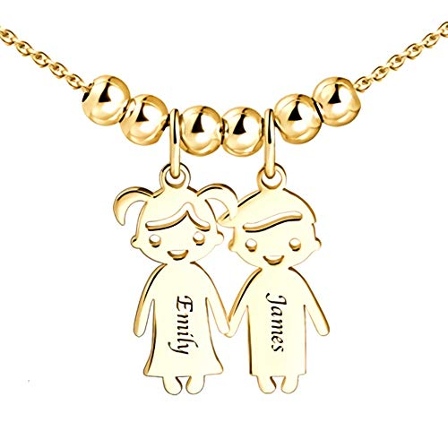 Grancey Personalised 1 to 5 Name Children Charms Mothers Necklace in 925 Sterling Silver Rose Gold-Engraved Boy Girl Charm Necklace Ideal