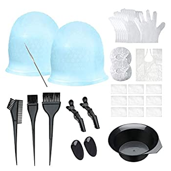 Silicone Highlight Caps Set for Color Hair 2 PCS Professional Reusable Highlighting Caps with Hooks & Hair Salon Tools for Women Men Girls Hairdressing Dyeing Staining
