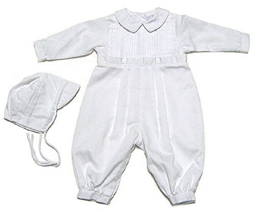 Baby Boys Christening Outfit, Pique Christening Baptism Long Sleeve (9-12 M) White