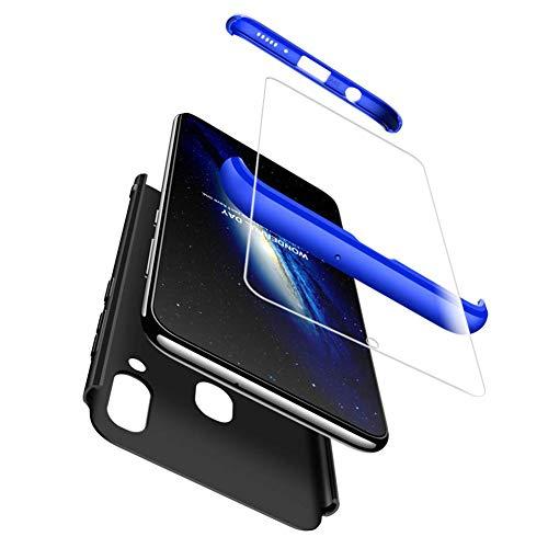 Mkej Kompatibel mit Samsung Galaxy A40 Hülle, [Panzerglas Displayschutzfolie] 3 in 1 Ultra Dünn Handyhülle 360° Full Body Anti-Kratzer Hart PC Skin Glatte Bumper für Galaxy A40 - Blauschwarz