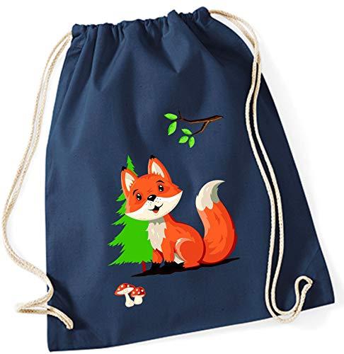 Turnbeutel für Kinder | Motiv Fuchs mit Wald & Pilz | Schuhbeutel Sportbeutel zum Zuziehen für Jungen & Mädchen | Stoffbeutel mit Kordel in blau grau pink (dunkelblau)