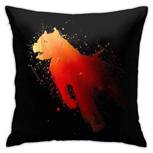 WH-CLA Pillow Cover In Motion Dog Funda De Cojín Acogedora para Sofá, Decorativa para El Hogar, Regalo Personalizado, Funda De Almohada, Sofá Suave De Anime, 45X45 Cm, Sala De Estar, Colo