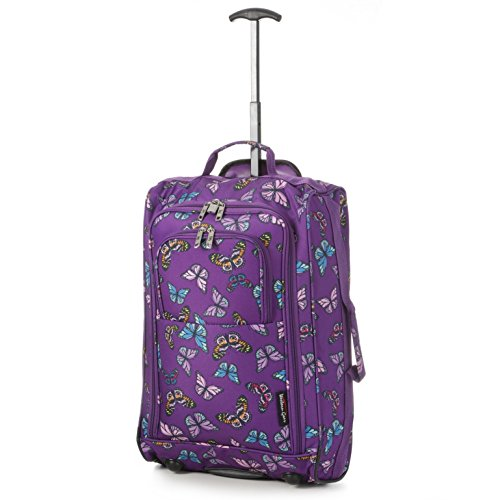 5 Cities Lightweight Hand Luggage Travel Holdall Baggage Wheely Suitcase Cabin Approved Bag (Butterflies Purple)