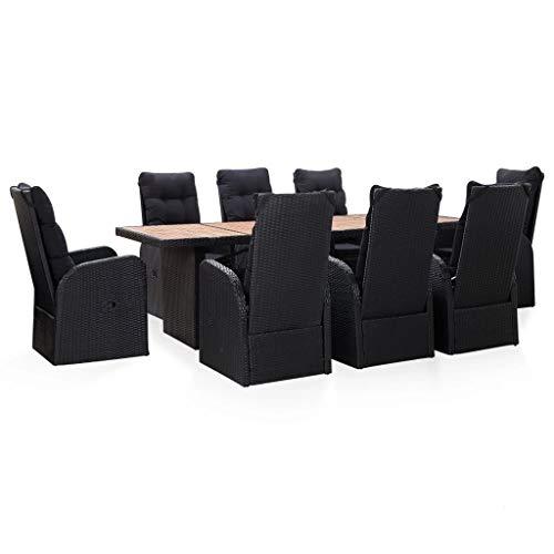 pedkit Silla Ratan Exterior Conjuntos Sofa Exterior Set Comedor jardín 9 pzas ratán sintético y Madera Acacia Negro