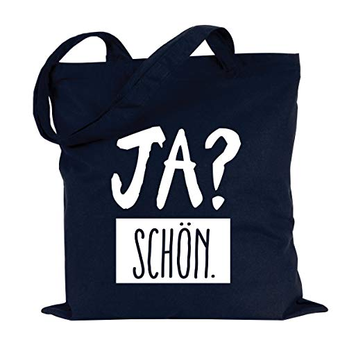 JUNIWORDS Jutebeutel, Wähle ein Motiv & Farbe, Ja? Schön (Beutel: Marine Blau, Text: Weiß)