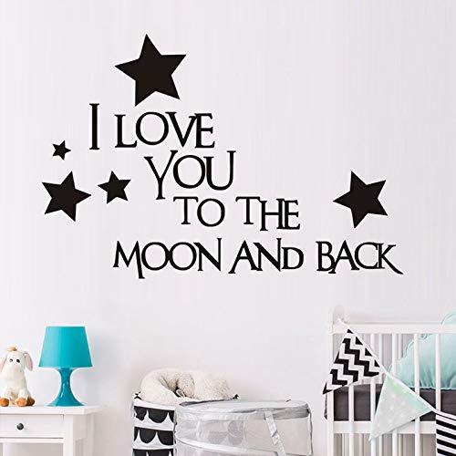 JXMN Te Amo a la Luna y la Espalda Pegatinas de Pared Papel Tapiz decoración del hogar habitación de los niños calcomanías de Dormitorio Pegatinas de Estilo de Dibujos Animados 118x66cm