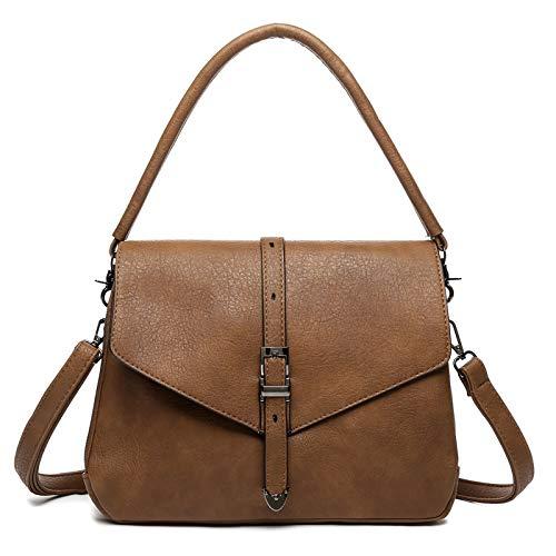 Ladies Handbags Crossbody Bags for Women Saddle purse and Satchel Shoulder Bags for Girls (Dark-Brown)