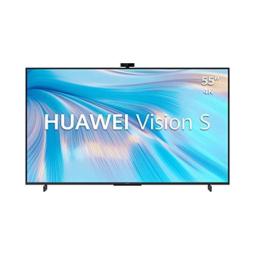 """HUAWEI Vision S + TV Box – Monitor de 55"""" 4K (3840x2160, 350 nits, 120Hz, marcos ultra estrechos, 4 altavoces 40dB, cámara magnética 13MP, HDMI), color Negro + TV Box incluida"""