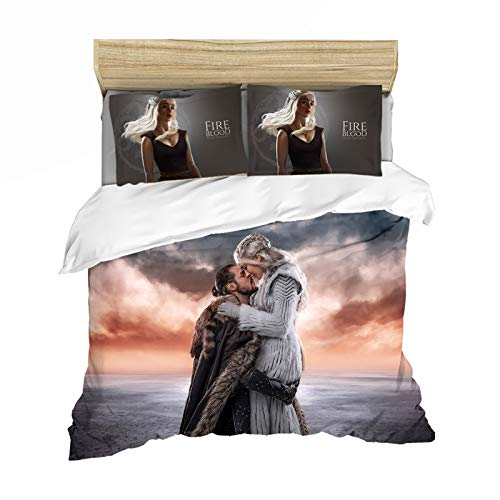 WTTING Juego de Tronos Juego de cama de 2/3 piezas, juego de tronos, funda nórdica y dos fundas de almohada, diseño impreso en 3D de Juego de Tronos, niñas y adolescentes (M, 200 x 200 cm)