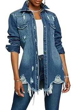 Distressed Jean Jacket for Women Oversized Ripped Long Sleeve Denim Jackets Blue