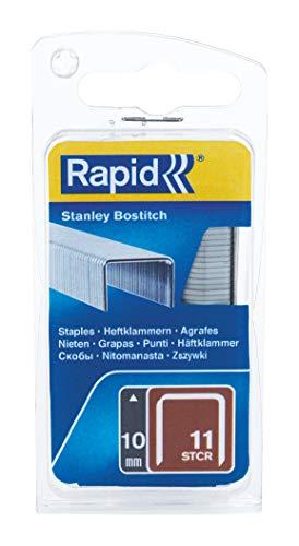 Rapid, 40109572, Agrafes en fil plat N°11, Longueur 10mm, 648 pièces, Pour les outils Bostitch, Fil galvanisé, Gris