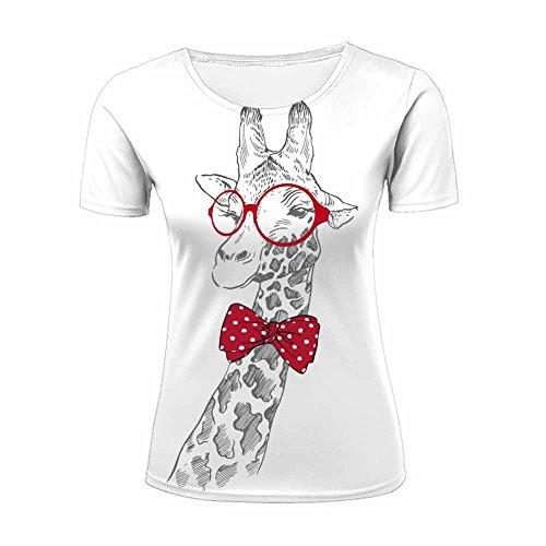 Camiseta de manga corta para mujer, diseño de jirafa en 3D a L