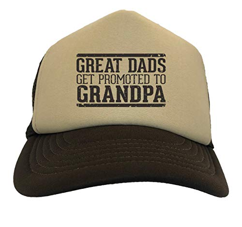 Great Dads Get Promoted to Grandpa Two Tone Trucker Hat (Beige/Brown)