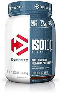 Dymatize ISO 100 Whey Protein Powder with 25g of Hydrolyzed 100% Whey Isolate, Gluten Free, Fast Digesting, Fudge Brownie, 1.6 Pound