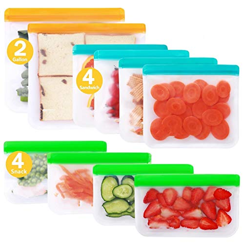 Reusable Storage Bags  10 Pack BPA FREE Freezer Bags2 Gallon Bags  4 Sandwich Bags  4 Snack Bags Leakproof Lunch Reusable Bags for Home Kitchen Travel Organization Food Marinate Meat Fruit Cereal