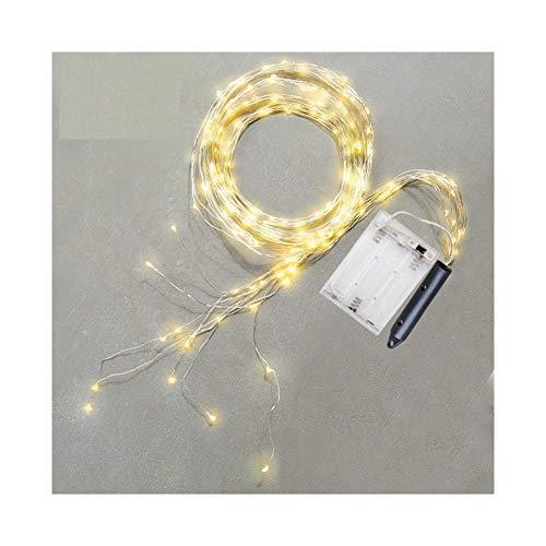 Cubierta fiesta al aire libre y luces de decoración LED Cascada 100 vid árbol de la secuencia luces de la batería Luz de Navidad for el árbol de Navidad del día de Gazebo Volver Gotas Garland Decoraci