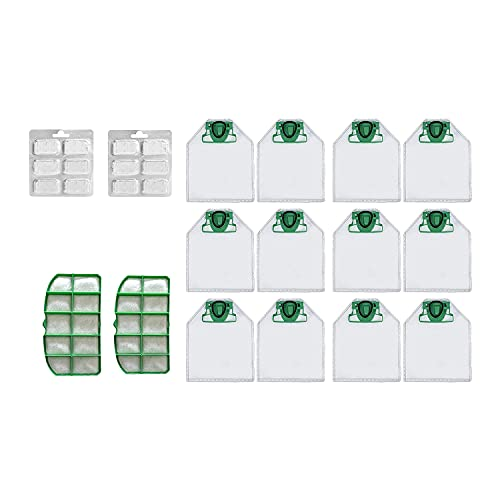 SNOWINSPRING Kits de Bolsas de Aspiradora para Vorwerk VK200 Bolsas, 2 Filtros HEPA, 12 Ambientadores Perfumados, Accesorios de Repuesto para Aspiradoras
