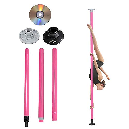 AW Static Dancing Pole Portable Full Kit Package Exercise Club Party Weight Loss 50mm with Bag(Non Rotating) Pink