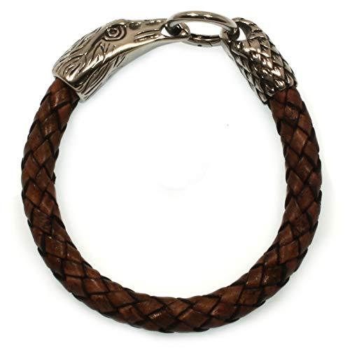 WAVEPIRATE® Echt Leder-Armband Edelstahl Eagle Adler Braun 23 cm Edelstahl-Verschluss in Geschenk-Box Herren