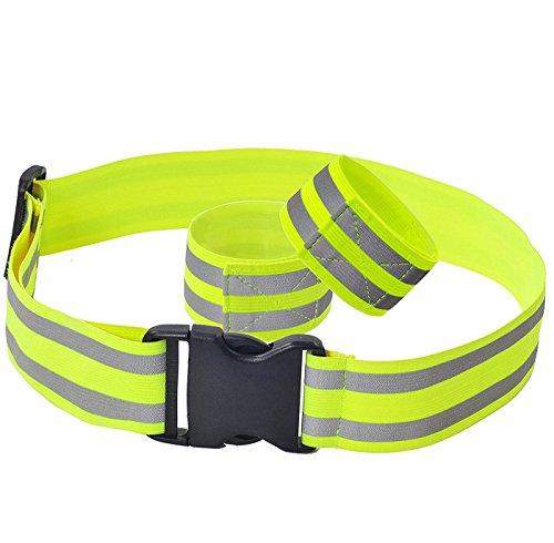 AIEOE Einstellbar Reflektoren Set Reflektierende Gürtel und Sicherheits Armbände Hohe Sichtbarkeit für Outdoorsport - Runnig, Jogging, Warndern, Radfahren usw