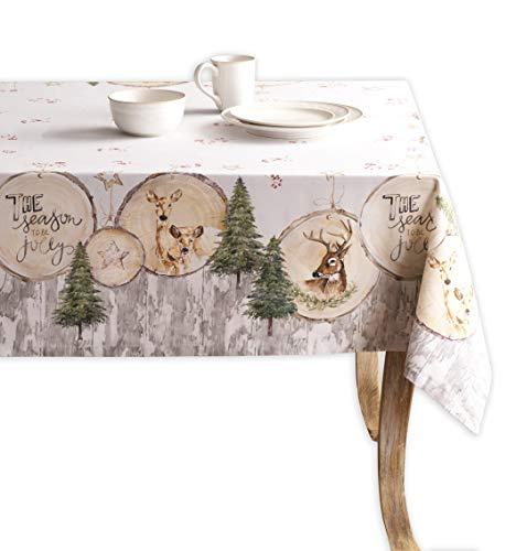 Maison d' Hermine Mountain Life - Mantel de 100 % algodón para cocina, cena, mesa, decoración de fiestas, bodas, Acción de Gracias, Navidad (rectangular, 160 cm x 220 cm)