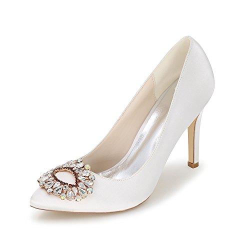 Zapatos de vestir de boda zapatos de boda cómodos Mujeres Nupcial Tacón alto Bombas de diamantes de imitación en punta puntiaguda Stilettos Zapatos de vestir de novia de satén,Blanco,US7.5/EU38/UK5.5