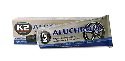 K2 (Aluminio y Cromo, Llanta abrillantador, Llanta Lavado, Profesional abrillantador, Metal Pulido, conserva, Protege Cuida, Permite la Llantas duplicar, 120 g